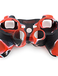 Protective Dual-Color Silicone Case for PS3 Controller (Red and Black)