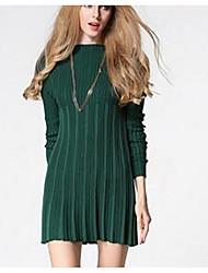 Damen Standard Pullover-Ausgehen Einfach Solide Grün Rundhalsausschnitt Langarm Baumwolle Frühling Mittel Dehnbar