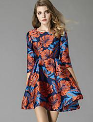 Dámské Čínské vzory Běžné/Denní A Line Šaty Žakár,Poloviční délka rukávu Kulatý Midi Modrá Polyester Podzim Mid Rise Neelastické Střední
