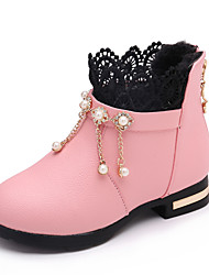 Kids Girl's Boots Spring / Fall / Winter Comfort / Ankle Boots Strap Leather Outdoor / Casual Low Heel Zipper Red / Pink / Black