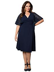 Women's Navy Charming Lace Big Girl Wrap Dress