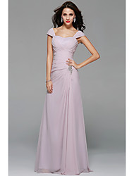 Floor-length Off-the-shoulder Bridesmaid Dress - Sexy Short Sleeve Chiffon