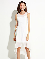 Women's Casual/Daily Dress,Solid Asymmetrical Sleeveless White / Black Summer
