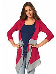Damen Gestreift Einfach Lässig/Alltäglich T-shirt,Kapuze Herbst Langarm Blau / Rot Baumwolle Mittel