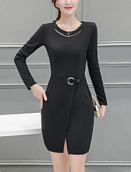 Women's Plus Size / Split Slim chic Bodycon Dress Solid Round Neck Mini Long Sleeve Red / Black Polyester Spring Mid Rise