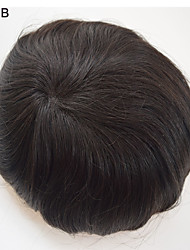 Wholesale Mens Toupee Human Hair 7x9 Human Hair Pieces Toppers Hair Men's Hair Systems large in Stock Jet Black 5 colors