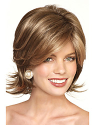 Heat Resistant Synthetic Brown Medium Length Wigs With Bangs