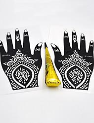1 Pair Hands Henna Stencil 1 Piece Black Color Henna Paste Body Art Painting Hollow Mehndi Tattoo Stencil