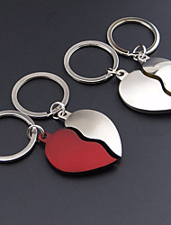 Stainless Steel Wedding Keychain Favors-2 Piece/Set Couples Keychains Beach Theme Non-personalised Heart Magnet Design Valentine's Day
