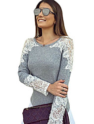 Women's Lace Cutout Patchwork Grey Long Sleeve Top