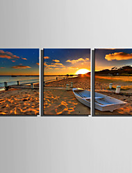 E-HOME Stretched Canvas Art Beach White Boat Decoration Painting  Set Of 3
