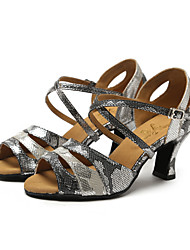 Non Customizable Women's Dance Shoes Synthetic Synthetic Latin / Jazz Sandals / Heels Chunky Heel Professional / Indoor / Performance