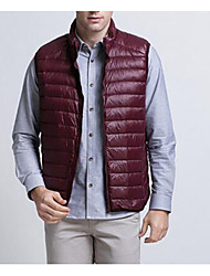 Men's Regular Down Coat,Simple Plus Size / Casual/Daily Solid-Nylon White Duck Down Sleeveless Red