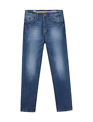 Metersbonwe Men's Solid Blue Jeans PantsStreet chic Winter