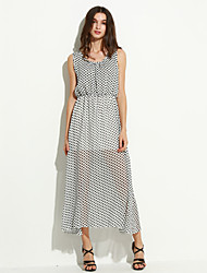 Women's New Dot Waisted Sleeveless Chiffon Vest Maxi Dress