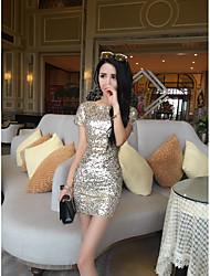 Moulante Robe Femme Soirée Sexy,Imprimé Col Arrondi Au dessus du genou Manches Courtes Noir / Or Polyester Eté Taille Normale