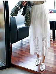 Damen Übergrössen Röcke,A-Linie einfarbigLässig/Alltäglich Einfach Mittlere Hüfthöhe Knielänge Elastizität Polyester Micro-elastisch