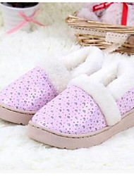 Girls' Slippers & Flip-Flops Winter PU Outdoor Athletic Casual Coffee Red Green Pink/White Navy
