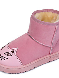 Women's Boots Fall Winter Comfort Fur Outdoor Casual Flat Heel Flower Black Pink Gray Walking