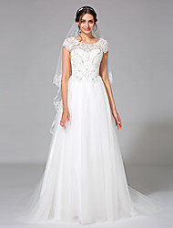 A-line Jewel Court Train Tulle Wedding Dress with Beading Appliques by LAN TING BRIDE®