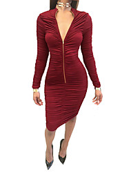 Women's Casual/Daily / Club Sexy / Simple Bodycon DressSolid Ruched Round Neck Above Knee Long Sleeve Spring / Fall Mid Rise
