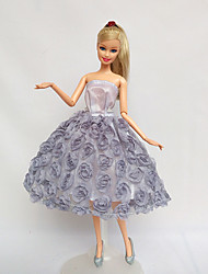 For Barbie Doll Gray Lace Dresses For Girl's Doll Toy