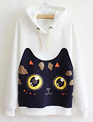 Women's Casual/Daily Cute Hoodie Print Fleece Lining Micro-elastic Cotton Long Sleeve Fall Winter
