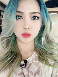 HOT Korean Makeup Artist Pony Beauty Diary Ombre Hair Long Natural Looking Wave Cosplay Blue Green Color Fashion Girl's Hair Heat Resistant