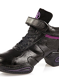 Non Customizable Women's Dance Shoes Leather Leather Modern Sneakers Chunky Heel Outdoor Black