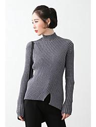 Normal Pullover Femme Décontracté / Quotidien simple,Couleur Pleine Gris Col Roulé Manches Longues Acrylique Automne Hiver Moyen