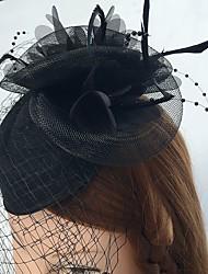 Femme Plume Tissu Filet Casque-Mariage Occasion spéciale Décontracté Coiffure Voile de cage à oiseaux 1 Pièce