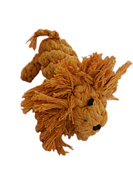 Dog Pet Toys Teeth Cleaning Toy Lion Brown Cotton