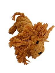 Cães Brinquedos para Animais Brinquedo Para Higiene Oral Leão Marrom Algodão