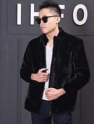 Men's Casual/Daily Simple Fur Coat,Solid Round Neck Long Sleeve Winter Black Rex Rabbit Fur Medium