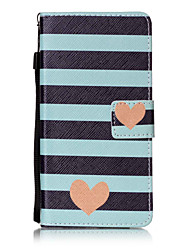 For Huawei P8lite P9 P9Lite Case Cover Striped Love Pattern Painting Card Stent PU Leather