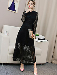 Women's Casual/Daily Simple Lace Dress,Solid Round Neck Midi Long Sleeve Black Polyester Fall / Winter High Rise Inelastic Thin