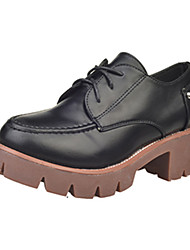 Women's Oxfords Fall Winter Platform Other Comfort PU Outdoor Dress Casual Chunky Heel Platform Lace-up Others Black Yellow Walking