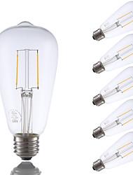 2W E26 Lâmpadas de Filamento de LED ST21 2 COB 220 lm Branco Quente Regulável / Decorativa AC 110-130 V 6 pçs