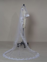 Bride Wedding White / Ivory Veil One-tier Chapel Veils / Cathedral Veils Lace Applique Edge Tulle
