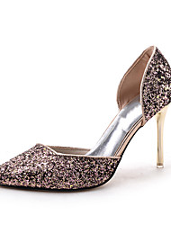 Women's Heels Spring Summer Fall Comfort Glitter Wedding Casual Party & Evening Stiletto Heel Sequin Black Silver Champagne Other