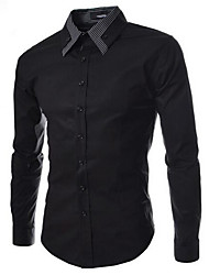 Men's Formal / Work Simple Shirt,Color Block Shirt Collar Long Sleeve White / Black Cotton