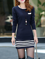 Women's Going out Street chic Sweater Dress,Striped Round Neck Above Knee Long Sleeve Blue / Black Polyester Fall / Winter Mid Rise
