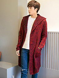 Men's Going out / Casual/Daily / Party/Cocktail Simple Regular Cardigan,Solid Red / Gray / Yellow Peter Pan Collar Long Sleeve Polyester