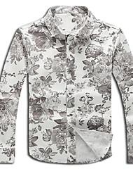 Masculino Camisa Social Formal Trabalho Praia Sensual Fofo Temática Asiática Outono,Floral Algodão Gola Peter Pan Manga Longa Média