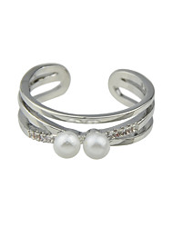 New Gold Silver Color Imitation Pearl Cuff Rings for Women