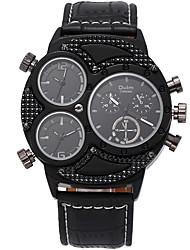 Oulm Men's Military Watch Wrist watch Quartz Three Time Zones PU Band Cool Casual Black
