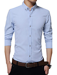 Men's Wedding / Formal / Work Vintage / Simple / Street chic Spring / Fall Shirt,Solid Square Neck Long Sleeve Blue / Pink / White Cotton