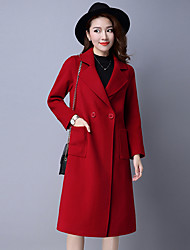 Women's Casual/Daily Simple Coat,Solid V Neck Long Sleeve Winter Red Wool / Polyester Medium