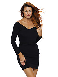 Women's Knit Ribbed Cut out Shoulder Long Sleeves Dress