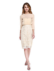 LAN TING BRIDE Sheath / Column Mother of the Bride Dress - Wrap Included Knee-length 3/4 Length Sleeve Chiffon Lace with Lace